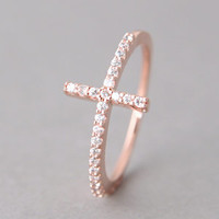 STERLING SILVER SIDEWAYS CROSS RING ROSE GOLD SIDEWAY CROSS RING by Kellinsilver.com - Sterling Silver Jewelry Stores as ETSY