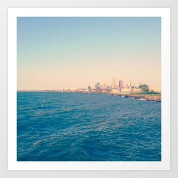 Cleveland Skyline  Art Print by Julia Blanchette