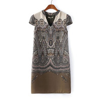 Summer Vintage Print V-neck Slim Short Sleeve Skirt One Piece Dress [4917859780]