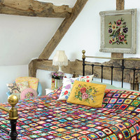 Vintage Home - Colourful Vintage Wool Crochet Throw.
