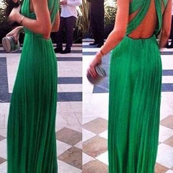 Streetstyle  Casual Green Draped Cut Out Backless V-neck Sleeveless Maxi Dress