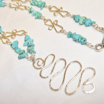 Necklace, Turquoise Nuggets, Silver Hand Forged Links, Hammered, Textured wire Pendant, hand crafted