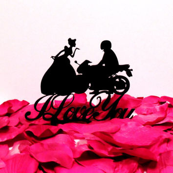 Cinderella saying I Love You to her Motorcycle Husband Cake Topper