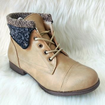Women's Beige Boot with Faux Sock Ankle Detail