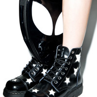 T.U.K. Stars 7 Eye Leather Boots Black/White