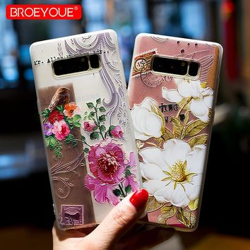 BROEYOUE Case For Samsung Galaxy S8 S7 Edge Plus Note 8 4 3 J2 J3 J5 J7 A3 A5 A7 2016 2017 Prime 3D Relief TPU Silicone Cases