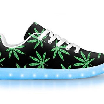 Pot Leaf - APP Controlled Low Top LED Shoes