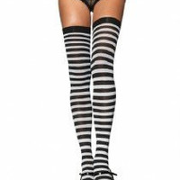 Black & White Striped Thigh Highs Goth 80s Punk Pin Up