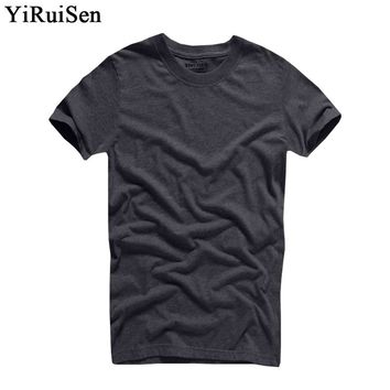 2017 Hot Sale YiRuiSen Brand 100% cotton T-shirt Men O-neck Short Sleeve Solid T Shirts Summer Clothing For Man