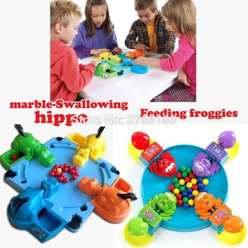 Funny Hungry Hippo swallow beads Table game,Feeding Frogs Parent-child interaction toys Board Game educational toys,2 Styles