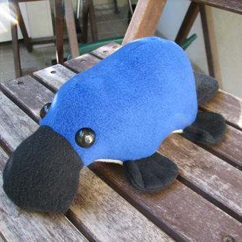 Little Platypus Plushie - Blue and Black Stuffed Animal Toy