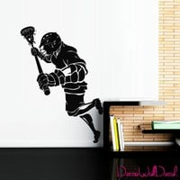Wall Decal Lacrosse Helmet Personalized Custom Name Sport Player Kids Children Room Teens Kids Teen Mural Sticker Decor Art Gift Dorm Bedroom M1631