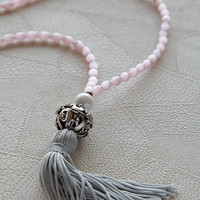 long silk tassel necklace , handmade necklace , made of semi precious pink cat eye beads , summer jewelry , gifts , women's jewelry