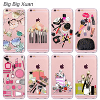 Fashion Makeups Cosmetic Phone Case For iPhone 5 5S SE 6 6S 6Plus 6sPlus Transparent Soft Silicone Fundas Coque