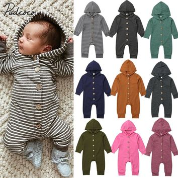 2019 Children Spring Autumn Clothing Baby Kids Boys Girls Infant Hooded Solid Romper Jumpsuit Long Sleeve Clothes Outfits 0-24M