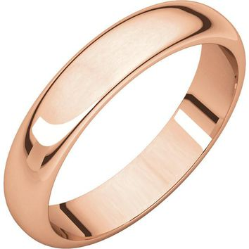 14 k Rose-Pink Gold 4mm Half Round Wedding Band Ring - Bridal Jewelry