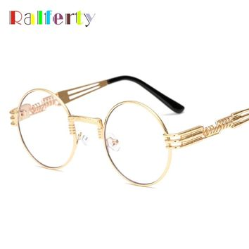 Ralferty Vintage Round Steampunk Sunglasses Women Men Steam Punk Gold Eyewear Hip Hop Shades Teashades Transparent Clear Glasses