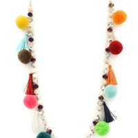 Glass Bead Pom Pom Boho Necklace