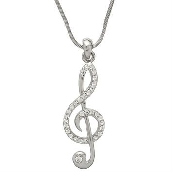 Large Gemmed Clef Note Necklace