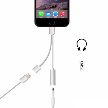 Lightning To 3.5mm headphone Jack and Charge Adapter for Iphone 7 Plus,Lightning cable for iphone 7 charge
