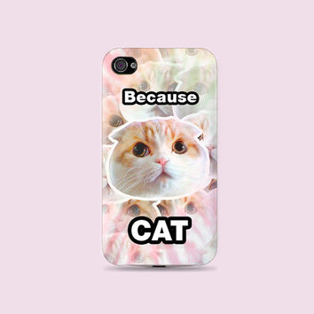 Tie dry Pastel Because Cat Meow Meow Plastic Hard Case - iphone 5 - iphone 4 - iphone 4s - Samsung S3 - Samsung S4 - Samsung Note 2