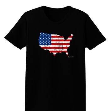United States Cutout - American Flag Distressed Womens Dark T-Shirt by TooLoud