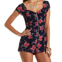 Smocked Floral Print Chiffon Romper by Charlotte Russe - Navy Combo