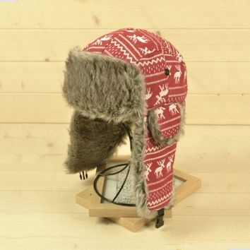 Outdoor Floral Pattern Winter Thick Plush Cotton Bomber Hats Girls Female Casual Earmuffs Caps Windproof Riding Cycling Hats
