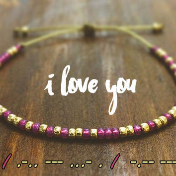 I LOVE YOU Morse Code Friendship Bracelet - BFF Gifts - Best Friend Gift - Beaded Bracelet - Best Friend Bracelet - Best Friend Birthday