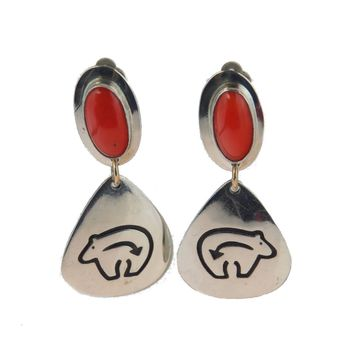 Everett & Mary Teller Navajo Bear Earrings Clips, Vintage, 1930s to 1980s