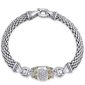 Diamond Mesh Bracelet (1/5 ct. t.w.) in Sterling Silver and 14k Gold