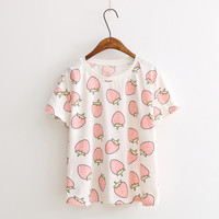 Short Sleeve Strawberries Print T-Shirt