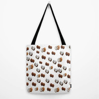 "COCO NUTS! Tote Bag (13"" X 13"", 16"" X 16"", 18"" X 18""),Original,Designer,White,Coconuts,Brown,Shopping Bag,Gym Bag,Work Bag,Foodie Couture"