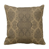 Lacy Vintage Floral in Brown Throw Pillow