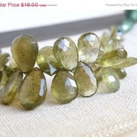 51% Off Rare Moss Aquamarine Gemstone Briolette Green Faceted Teardrop 10mm 9 beads