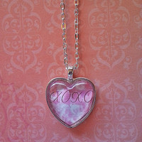 xoxo glass dome heart necklace for tween or teen girl