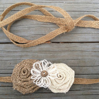 Rustic Burlap/Jute Rope Flower Girl Sash/Belt/Rustic Flower Girl Outfit/Country Wedding Embellished/Burlap Sash
