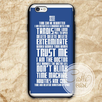 Tardis Typography Quotes iPhone 4/4S, 5/5S, 5C Series Hard Plastic Case