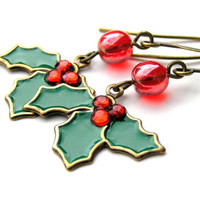 Holly Berry Earrings, Holiday Earrings,  Dangle Earrings, Christmas Jewelry