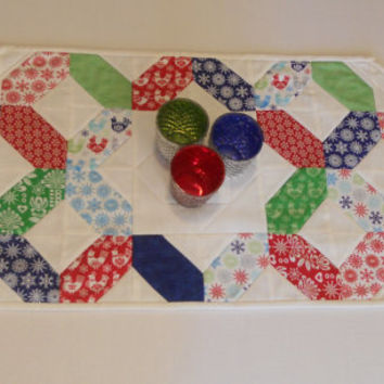Winter Christmas Quilted Table Runner Patchwork Bright Colors Folk Art Holiday