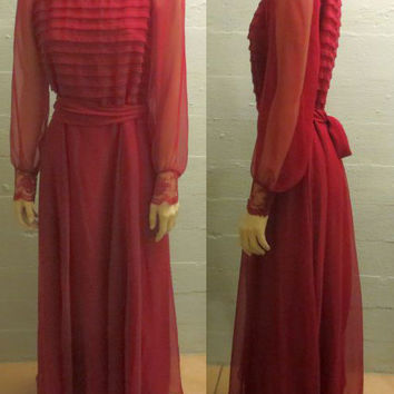 Vintage Christmas Dress / 60s 70s Red Maxi / Miss Elliette California / Sheer Chiffon / VTG Holiday Maxi