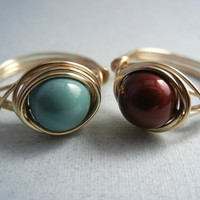2 Wire Wrap Rings - Swarovski Pearl Rings by threestonebirds on Etsy