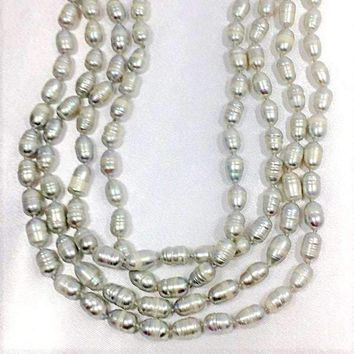 "62"" Long Baroque Grey Faux Pearl Necklace"