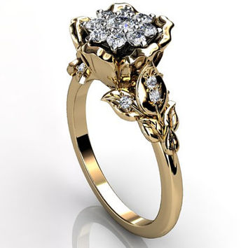 14k yellow gold diamond unusual unique cluster floral engagement ring, bridal ring, wedding ring ER-1073-2