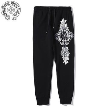Chrome Hearts & MMJ New fashion pattern print couple pants Black