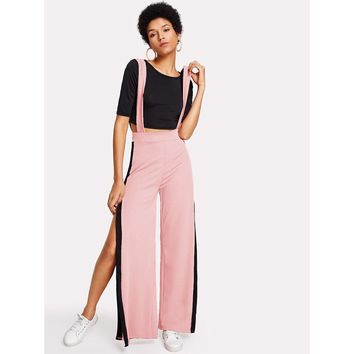 Crop Tee With Side Split Pinafore Jumpsuit