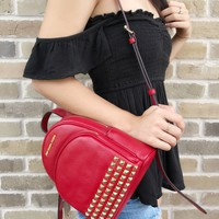 Michael Kors Abbey Mini Backpack Crossbody Stud Red Extra Small