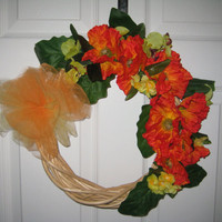 "Handmade Natural Twig Spring/Summer Wreath, 14"" Round, Bright Red Orange Poppies, Orchids & Yellow, Front Door, Wall Decor, Spring Summer"