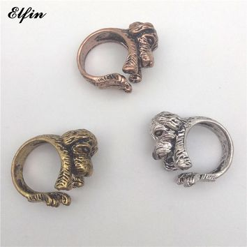 Elfin 2017 Trendy Vintage Adjustable Poodle Big Rings For Women Fashion Mens Ring Anillos Mujer Warcraft