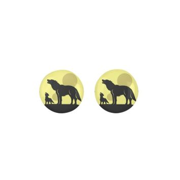 Mother and Wolf Pup Earrings